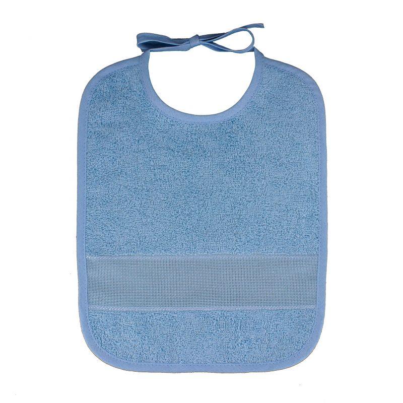 bavoir broder sans poche point de croix coloris bleu taille 6 mois 1 an. Black Bedroom Furniture Sets. Home Design Ideas
